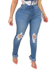 Heysweeta Women Jeans Broken Holes Women Jeans