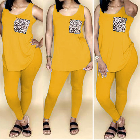 Heysweeta Women Vest and Pants Two Pieces At-home Outfits