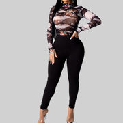 Heysweeta Printing Tops and Women Pants Two Pieces Outfits