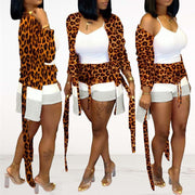 Heysweeta Cheetah Print Long Outerwear and Shorts Set