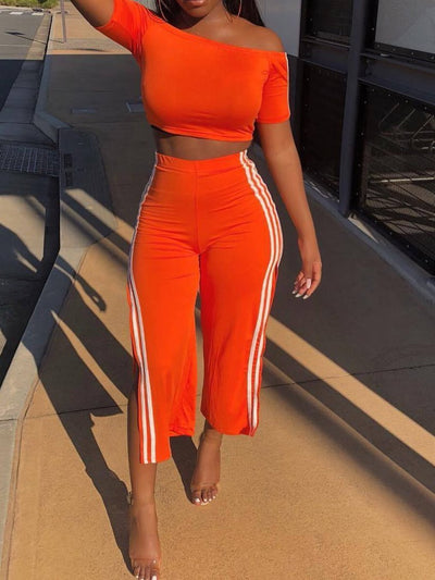 Slash Neck Crop Tops and Split Pants Set