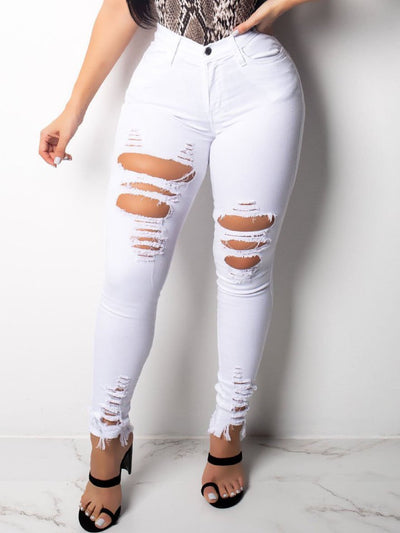Ripped Holes Candy Color Jeans
