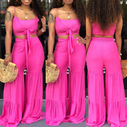 Strap tops and Flare Pants Set