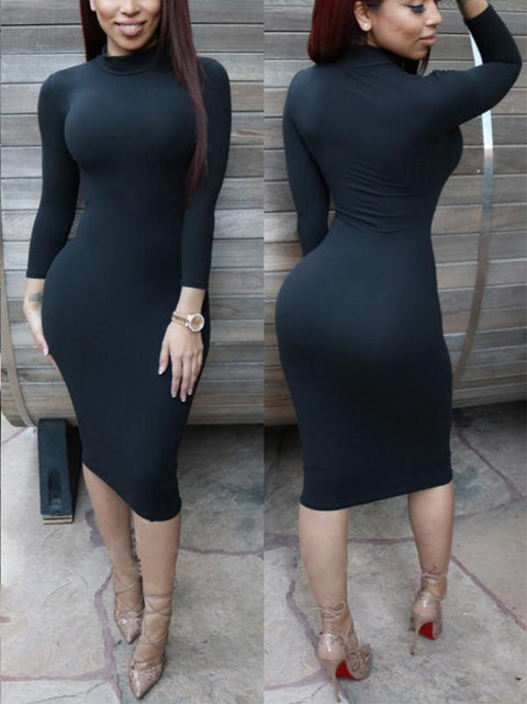 Long Sleeves Solid Midi Dress
