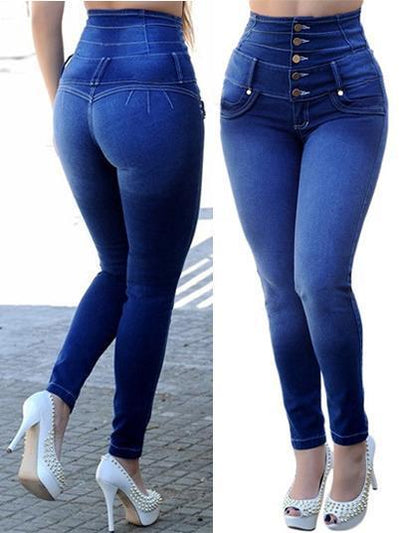 High Waist Women's Pencil Jeans