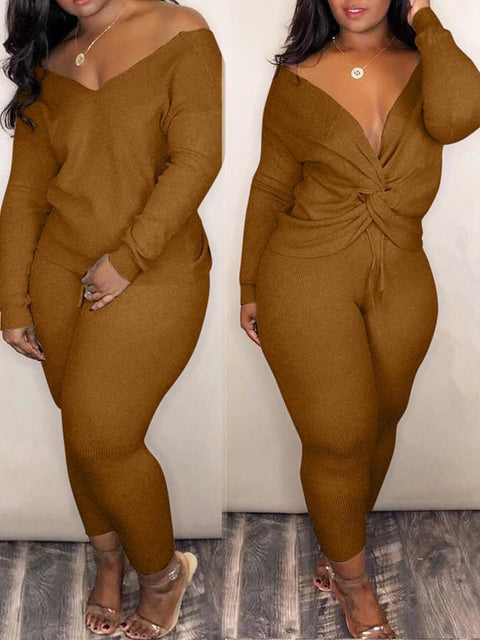 V-neck Solid Full Length Two Pieces Set