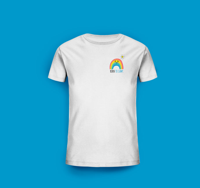Kinder T-Shirt in Weiß. Born to camp.