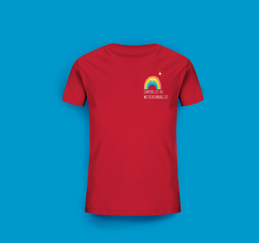 Kinder T-Shirt in Rot. Camping ist da, wo Tecklenburg ist.