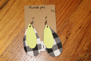 Neon Yellow/Black and White Checkered earrings
