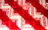 Handmade Red and White Log Cabin Quilt- Christmas Gift- Queen Size Quilt