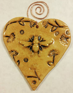 Bee Heart Ornament with Copper Hanger