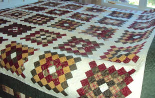 Handmade Green and Cream Queen Size Quilt - Christmas Gift for Her