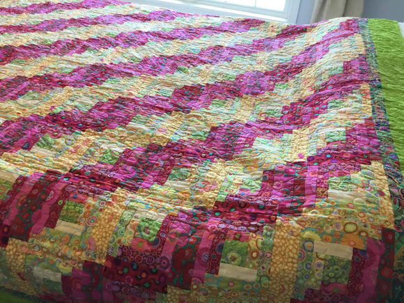 Handmade Log Cabin Spring Twin Quilt- Gift for Her