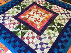 Handmade Tropical Handmade Quilt-Art Wedding Gift for Her in Bright Colors- Orange, Green, and Blue