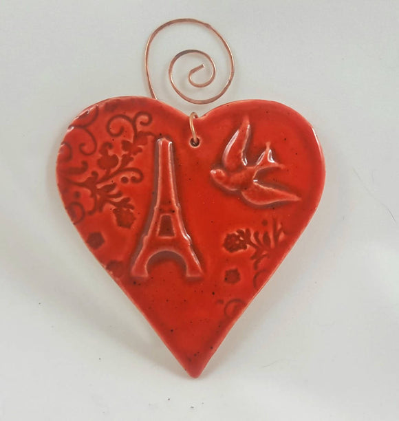 Eiffel Tower Heart Ornament with Copper Hanger