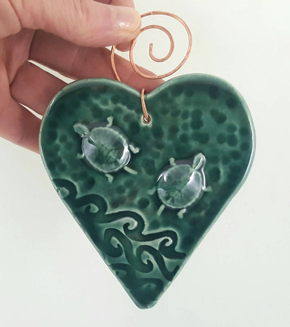 Turtle Heart Ornament with Copper Hanger