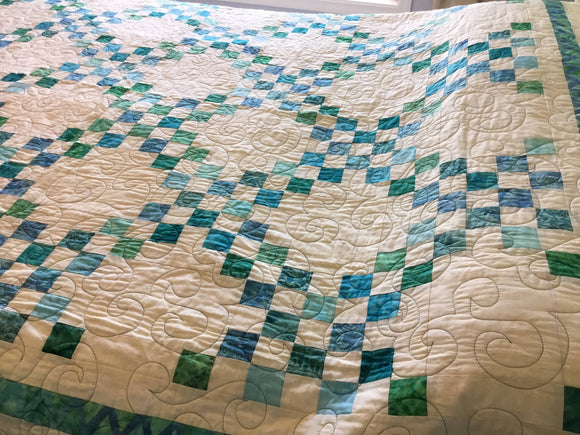 Blue and White Irish Chain - Twin Size Quilt