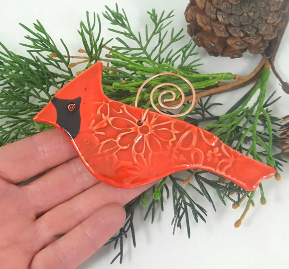 Cardinal Ornament with Copper Hanger