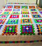 Colorful Handmade Queen Quilt - Wedding Gift for Her