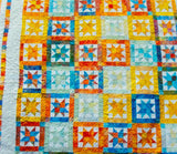 Bright Beach Quilt in Yellow, Blue, Orange, and White - Queen Size