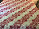 Log Cabin Queen Quilt--Red and White Queen Quilt- Handmade Christmas Gift