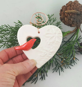 Heart with Bird Ornament with Copper Hanger