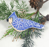 Blue Jay Bird Ornament with Copper Hanger