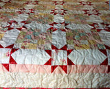 Lap Size Handmade Rose Quilt-Gift for Her