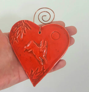 Hare Heart Ornament with Copper Hanger