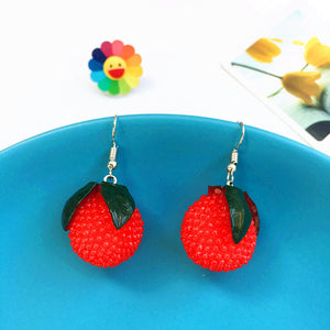 Long Pendant Fruit Earrings