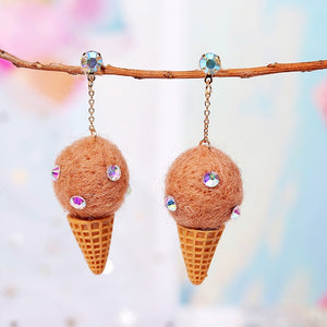 Handmade Wool Dangle Earring