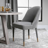 BRIE ARMLESS CHAIR, GRAY, Set of 2