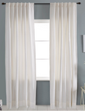 Snow White Solid Faux Silk Curtain
