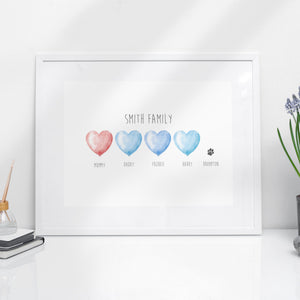 Personalised Heart Family with Pet Print