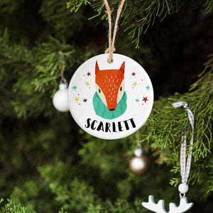 Personalised Fox Ceramic Bauble