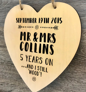 5 Year Anniversary Wooden Heart