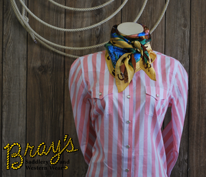 Wrangler Long Sleeve Pink Striped Snap Shirt