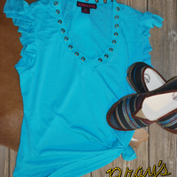 Rock & Roll Cowgirl Turquoise Ruffle Top