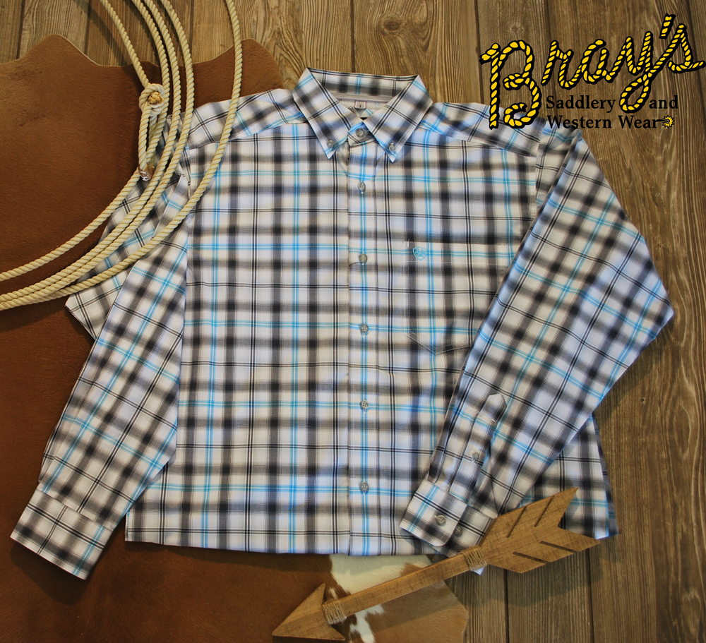 Ariat Pro White Plaid Button Shirt