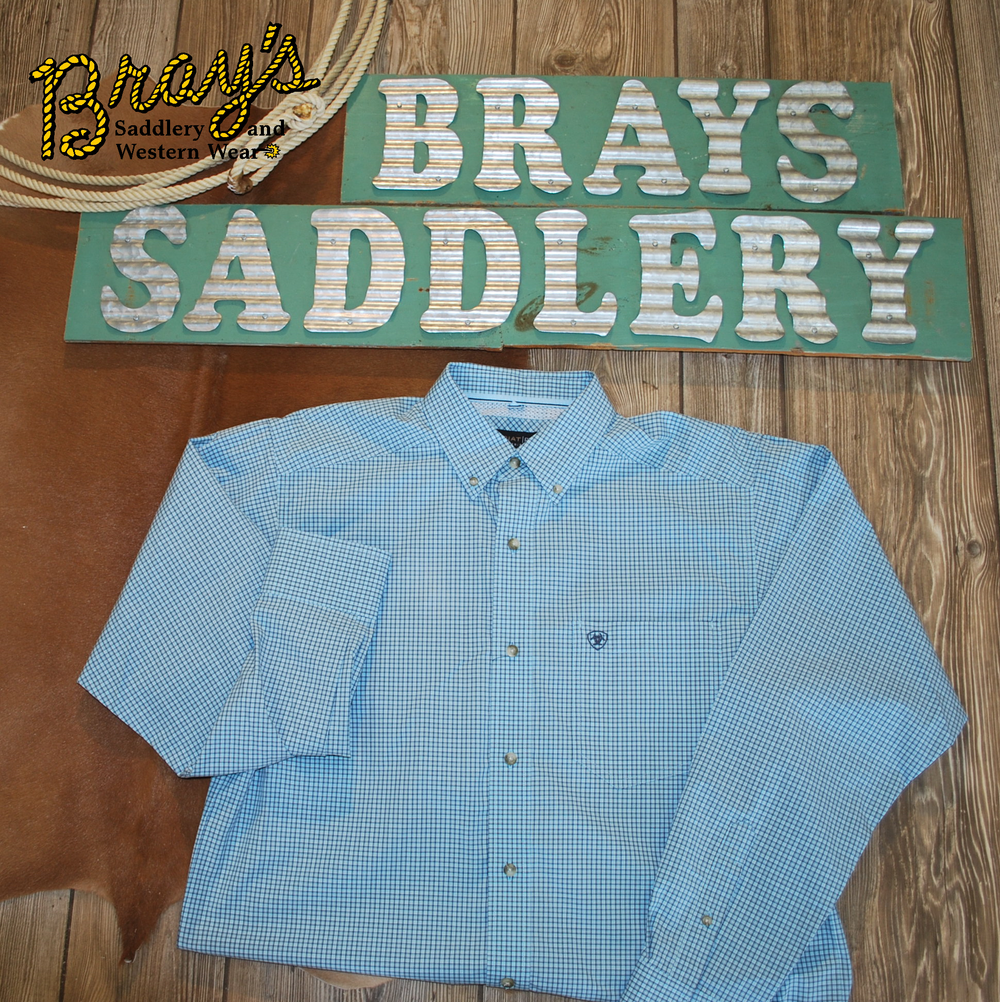 Ariat Pro Crystal Blue Small Plaid Button Shirt