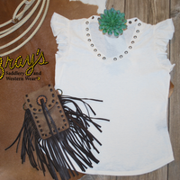 Rock & Roll Cowgirl Ivory Ruffle Top