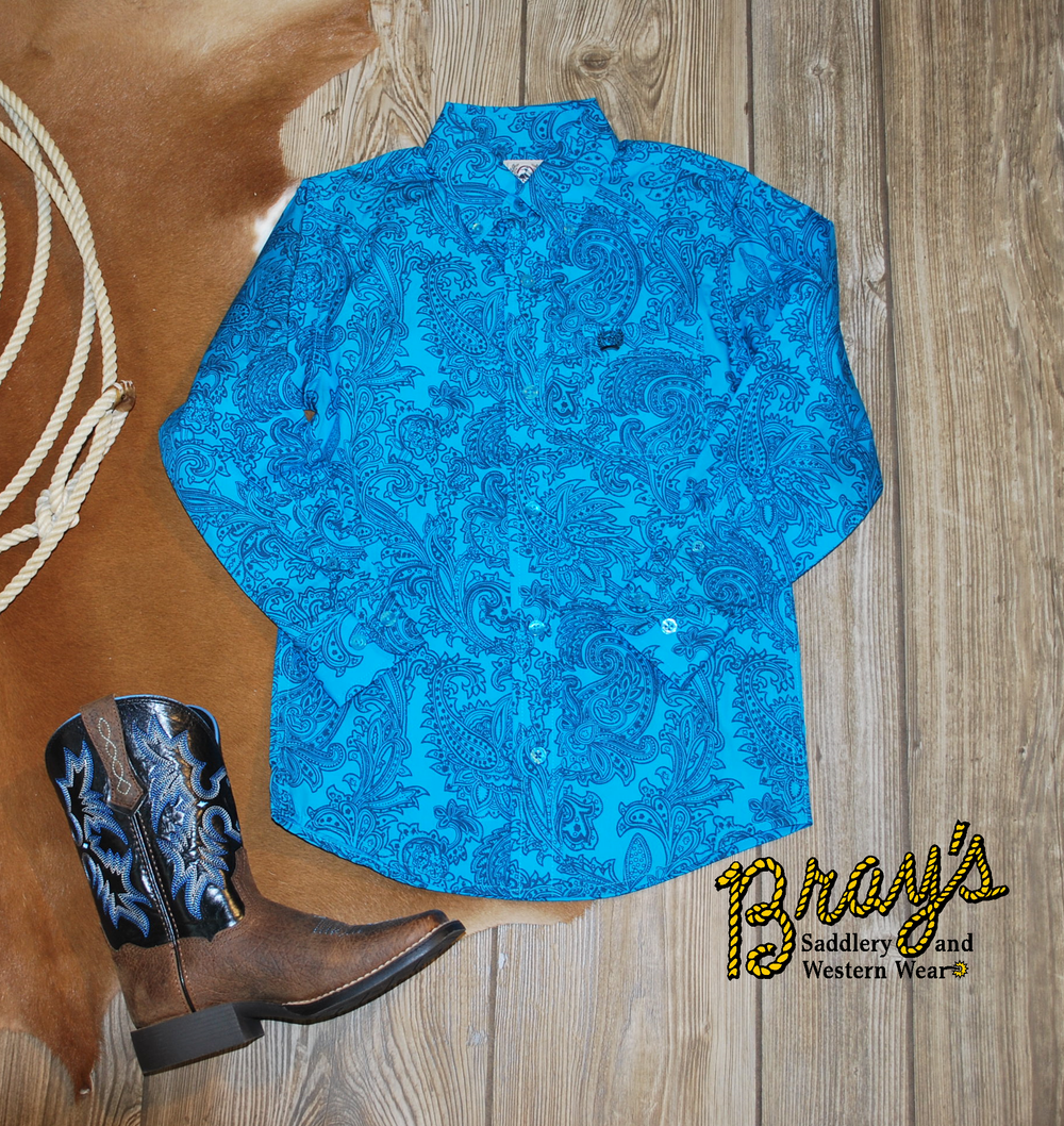 Cinch Boys' Teal Paisley Button Shirt