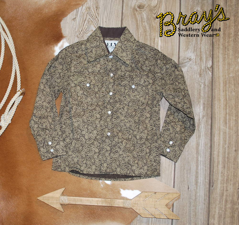 Ely Cattleman Boys' Brown Paisley Snap Shirt