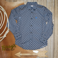 Cinch Boys' Grey/Blue Button Shirt