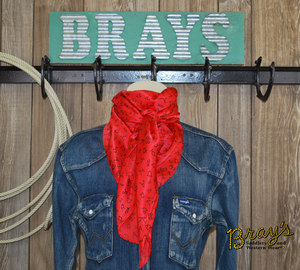 "Wild Rag 42"" X 42"" {Red with Black Brands}"
