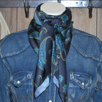 "Wild Rag 44"" X 44"" {SM Black with Blue Paisley}"