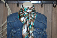 "Wild Rag 44"" X 44"" {SM Brown and Turquoise  Abstract Print}"