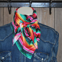 "Wild Rag 36"" X 36"" {SM Pink and Green Serape Stripe}"