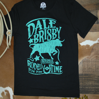 Dale Brisby Black with teal Rodeo Time T-shirt by Rock and Roll Cowboy