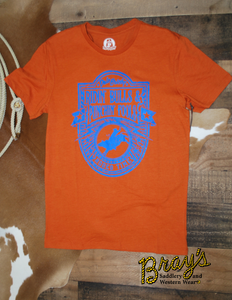 Dale Brisby Orange T-shirt with Blue Center Graphic by Rock and Roll Cowboy